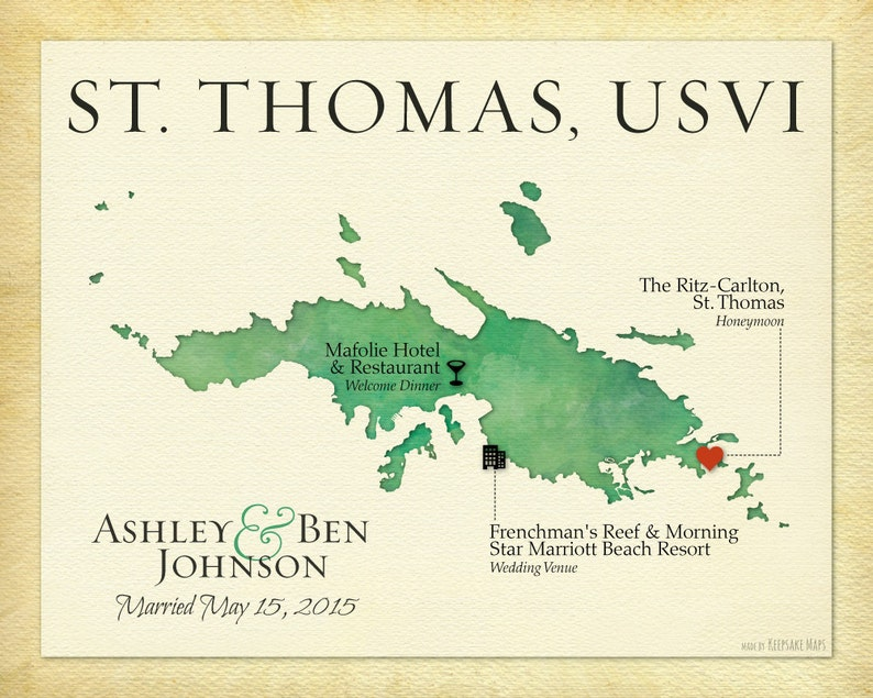 Personalized St. Thomas USVI Wedding Map Print Map Art of St. | Etsy