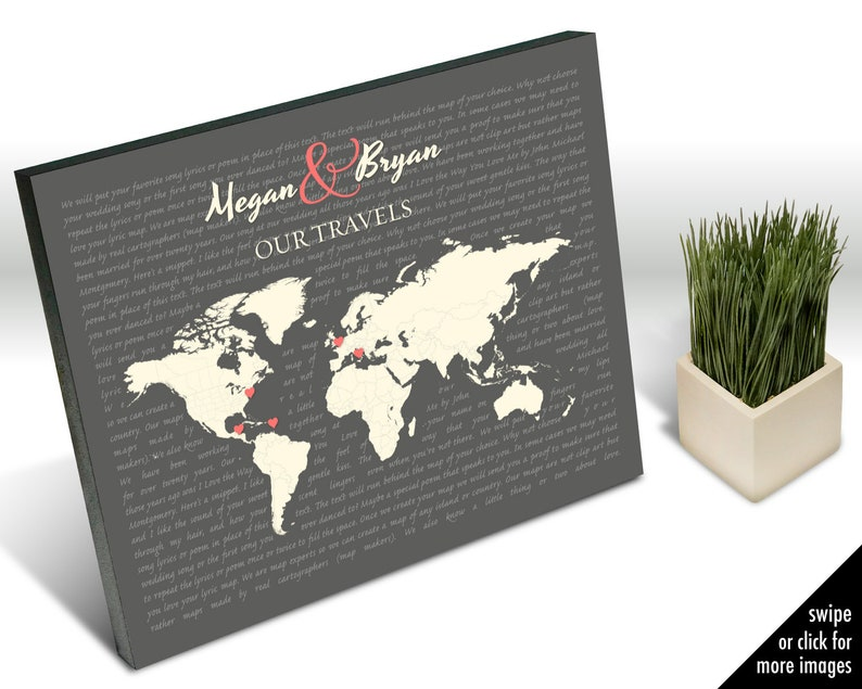 Personalized World Map of Couple's Travels with Song Lyrics or Wedding  Vows, Map Art Wedding Gift, Anniversary Gift