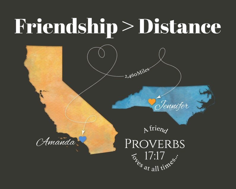 Proverbs 1717 Verse On A Friend Map Personalized Gift For