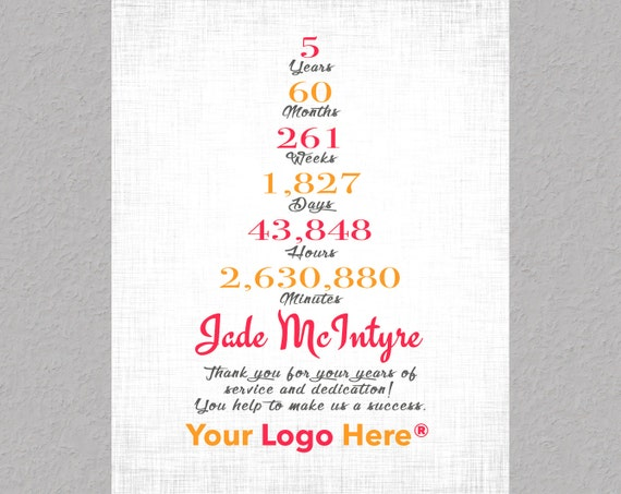 5 year work anniversary gift employee appreciation gift etsy
