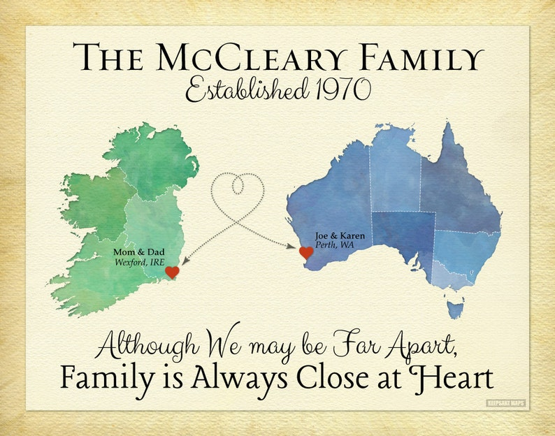 Long Distance Family Gift Idea Family Map Art Canvas image 0