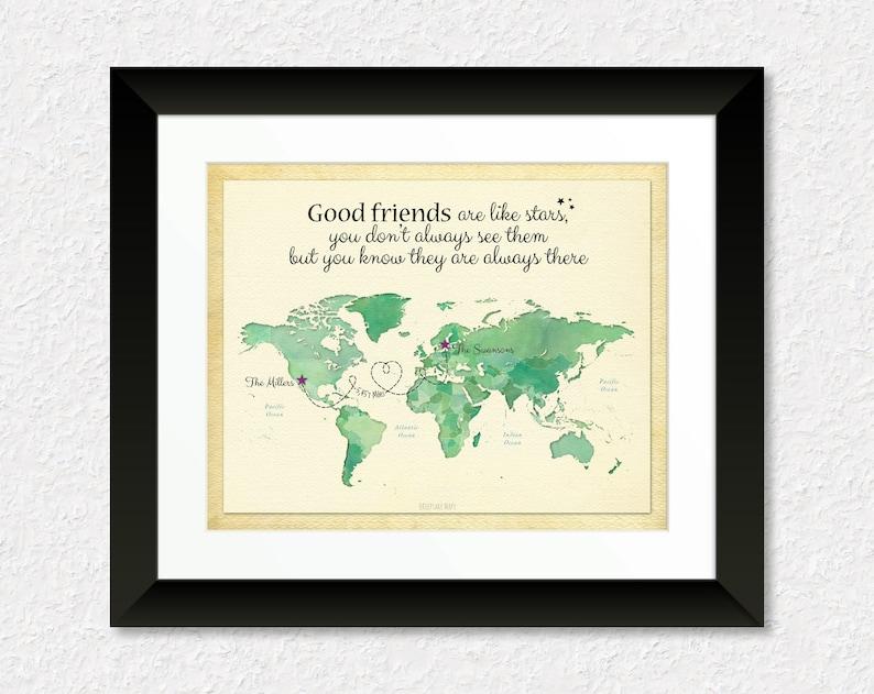 Long Distance Friendship Gift For Good Friends Moving Away Birthday Idea Military Custom World Map Art