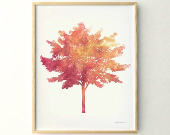 Fall Tree Print Leafy Poster Wall Decor Autumn Art Printable 11x14 Bedroom Nature Of A