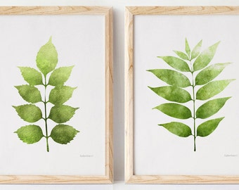 Botanical Download Prints, Plant Art Printable Set, Leaves Downloadable Art 5X7, 8X10 Set of Wall Prints Plants Wall Decor Bedroom Art Ideas