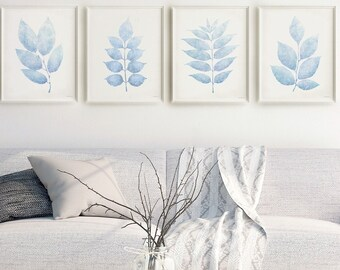 Soft Blue wall art PRINTABLE Living room decor aesthetic posters, Pale blue decor Bedroom Gallery wall set 4 prints, Light blue leaves 16x20