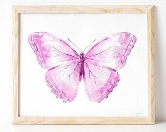 Light purple pink Butterfly art print, Baby girl room decor Cute wall art Girl nursery art Pastel Delicate decor Newborn room decor Download