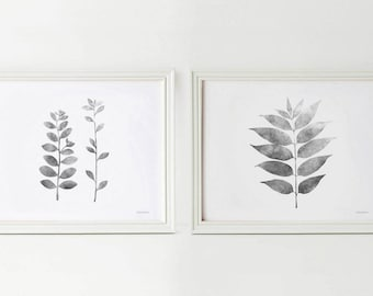 Set of 2 Grey leaves prints, 8x10 Black and white Botanical prints, Grey wall prints, Printable Nature art set, Gray decor Horizontal prints