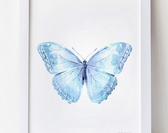 Baby Blue Butterfly Printable Art 12x16 Art Print for DOWNLOAD, Baby bedroom print, Light blue Butterfly Nursery Decor Baby Nursery wall art