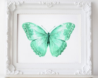 Mint green Butterfly wall art PRINTABLE decor, Butterfly art print, Bedroom decor Butterfly print, Digital wall art print, Mint green decor