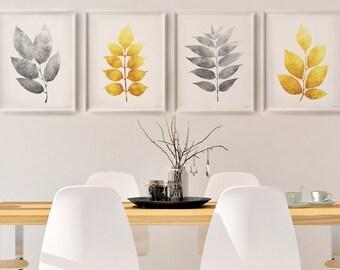 Yellow and Gray art, Kitchen and Dining wall decor, Botanical art Set of 4 prints, 16x20 Printable wall decor, 4 Piece wall art