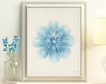 Blue Flower art, Instant download art, Blue wall art, Flower wall decor, DIY wall art Blue Nursery decor, 8x10 art Floral decor, Bedroom art