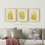 Mustard Yellow wall decor, Home decor Download Botanic print set, Mustard wall art Living Room prints 16x20 Digital art Printable Posters