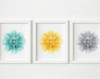 Flowers PRINTABLE art Set of 3 prints, Floral art trio Teal yellow and grey art, Nursery wall art Hand drawn art prints Floral Nursery decor