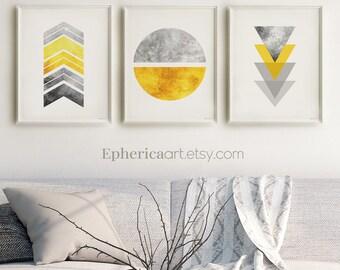Modern art prints Gray yellow Living room wall art printables, 3 Piece wall art Scandinavian Nordic art Contemporary Home wall art Set 16x20