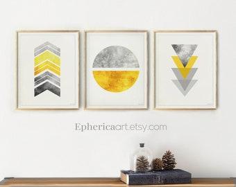 Gray and yellow Modern aesthetic wall art Bedroom decor Scandinavian style, Abstract art print set of 3 Geometric Printables Nordic art trio
