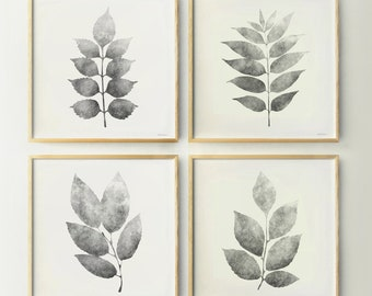 4 Piece wall art Gray Leaves Black and white Living room decor, Neutral prints wall decor Bedroom art set Square prints 20x20  DOWNLOAD