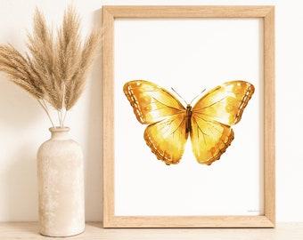 Fall wall decor Honey Butterfly Printable wall art, Boho decor bedroom Digital art print Girls room decor, Boho Butterfly Nursery wall decor