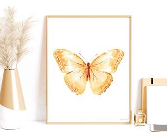 Girl Nursery decor Pastel Peach Butterfly art print Boho Printable wall art Boho bedroom decor Light orange Butterfly print Girls room decor
