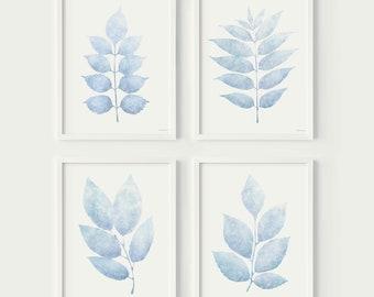 Pale Blue wall art prints Guest Bedroom decor aesthetic Neutral prints Set of 4 Light blue leaves Pastel wall art PRINTABLE wall decor 11x14