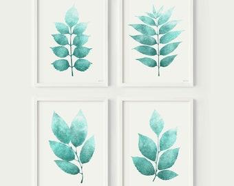 Bathroom Prints set Turquoise Home Decor wall art PRINTABLE Bathroom Gallery wall Set of 4 Botanical prints Teal art Nature wall decor 11x14