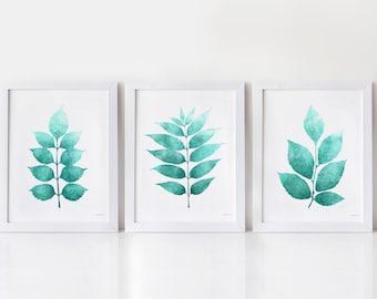 Bathroom prints, 3 Piece wall art, Turquoise wall decor, Aqua art prints, Botanical wall art Printable Bathroom art, Set of 3 prints