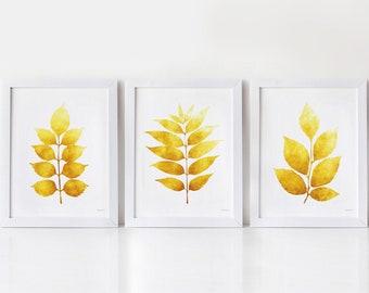 Set of 3 prints, Mustard Yellow wall art Printable Kitchen art prints, Small wall art 8x10, Wall pictures Bathroom wall decor Botanical art