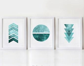 Teal wall art Geometric Set of 3 prints, Home office decor Modern Dorm wall decor, 3 wall art Abstract prints Digital Download art