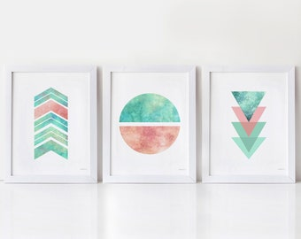 Modern Set of 3 prints, Home office decor for women wall, Nordic Geometric wall decor, Pink turquoise dorm wall prints, Instant Download art