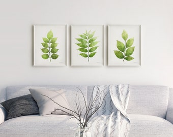 Botanical Print Set Of 3 Wall Art, Printable Leaves Gallery Wall  Collection, Living Room Wall Art Set Of 3 Art Posters Green Wall Art 16x20