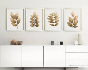 Delightful Set Of 4 Downloadable Prints, Kitchen Wall Decor Dining Room Art, Home  Decor Wall Art Botanical Brown Prints Set Of Posters 18x24, 16x20