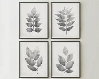 Printable wall set 12x16 Prints, Botanical Wall art Set of 4 prints, Downloadable art prints Gray Leaves digital prints, Botanical print set