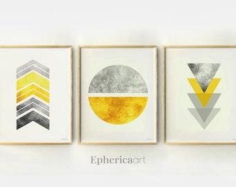 Abstract wall art Printable set of 3 Modern Scandinavian geometric art, Gray yellow College dorm decor Contemporary Home office decor 11x14