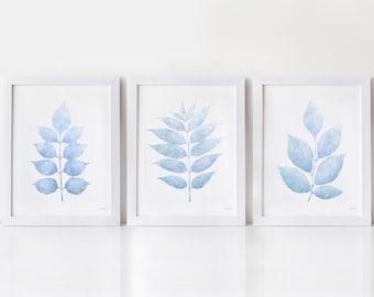 Light blue leaves art, Pale blue decor Bedroom print set of 3 PRINTABLE art prints 8x10 5x7 art works for home, Baby blue Powder room decor