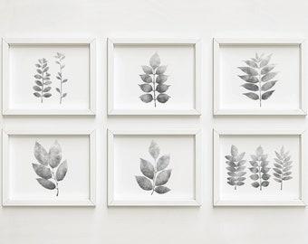 Gallery wall art prints Set of 6 wall art, Bathroom wall decor Botanical Digital wall art Horizontal Black and white Nature art 5x7
