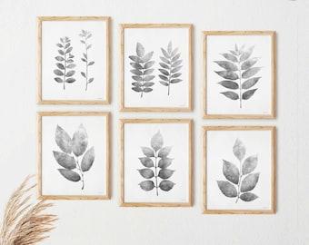 Gray print set of 6 wall art, Botanical Gallery wall set, Kitchen Printable wall art Farmhouse art prints, Six piece wall art 5x7