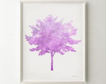Tree art print Purple Nursery art, Girls Nursery decor, Purple wall decor, Purple art Printable Nursery print, Girls Bedroom Purple wall art