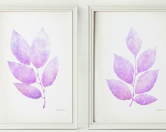 Lavender leaves print set, Light purple Printable nursery decor, Pastel art prints 5x7 Nursery prints Lilac purple art Pastel wall print art