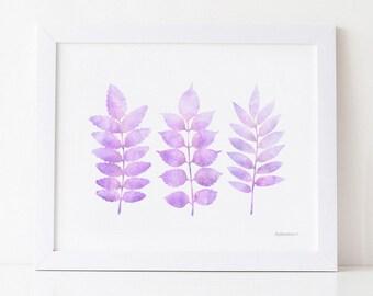 Pastel purple wall art, Leaves printable Watercolor nursery room art print, Lavender decor, Light purple Girls bedroom wall art Pastel decor