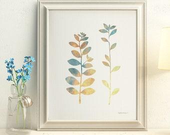 Print at home art, Nature home decor, Printable wall print, Nature art print, Bedroom wall decor, PRINTABLE wall art print, Leaves art print