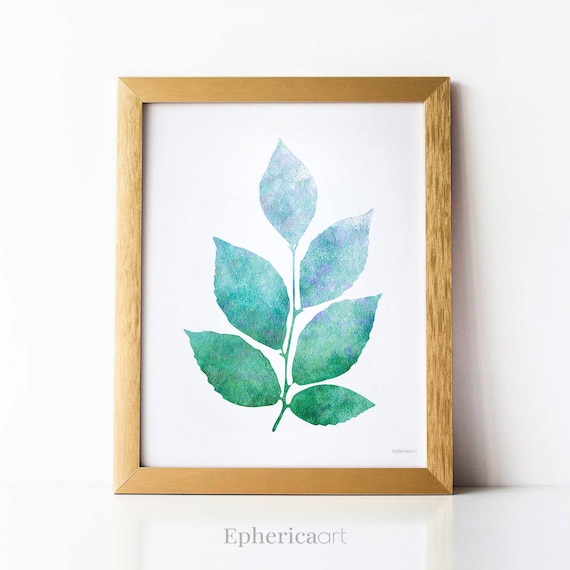 Blue Green Leaves Print For Wall Decor Ideas For Small Etsy