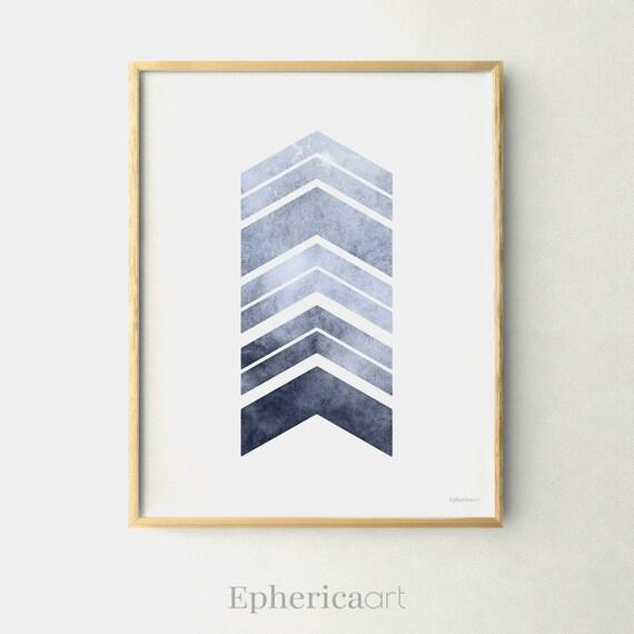 Merveilleux Grey Blue Wall Art Chevron Decor Gray Blue Wall Decor | Etsy