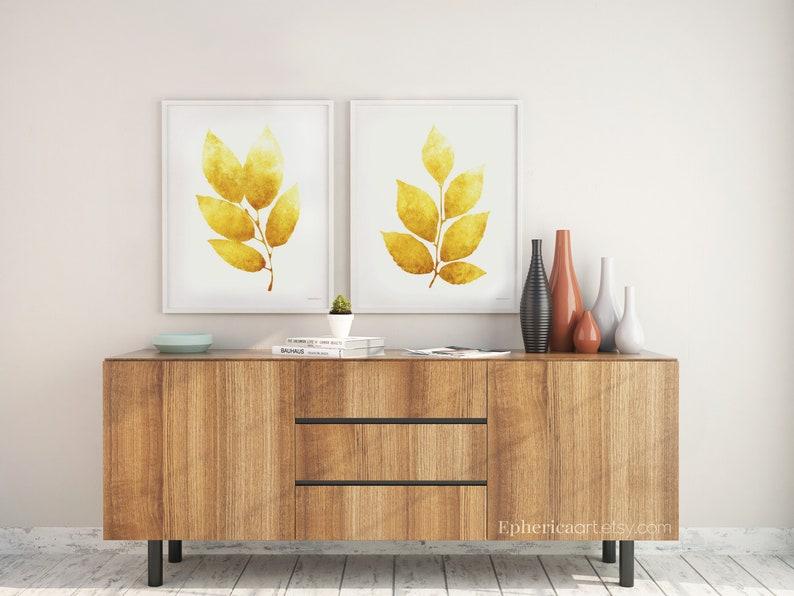 Mustard yellow Prints wall art Set of 2 Leaves artworks 24x36 image 0