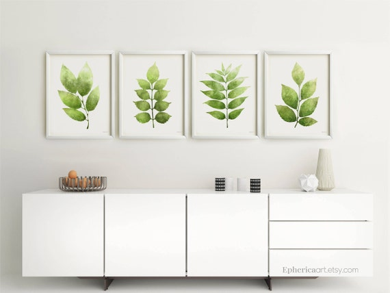 Set of 4 Wall Art Moss Green Leaves Posters 4 Piece Botanical   Etsy