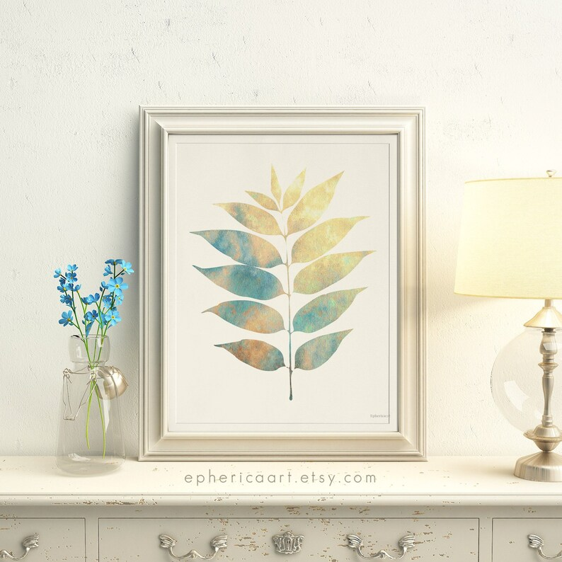 Nature Art Print Beige Leaves artwork Digital art print Home image 0