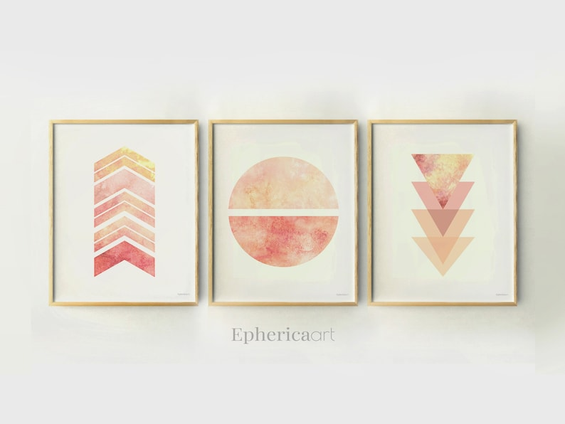 Coral Pink Abstract print set Watercolor Abstract art image 0