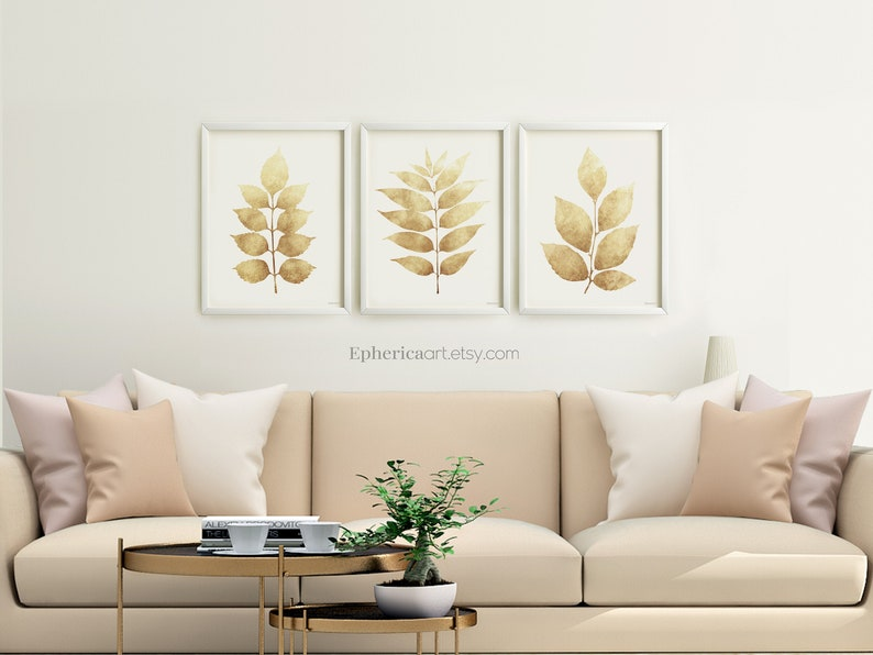 Taupe Ivory Living room prints Dining room wall decor set image 0