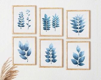 Set of 6 prints, Bathroom art Navy blue wall art Printable, Bedroom Gallery wall set, Dark blue Botanical wall decor, Small art prints 5x7