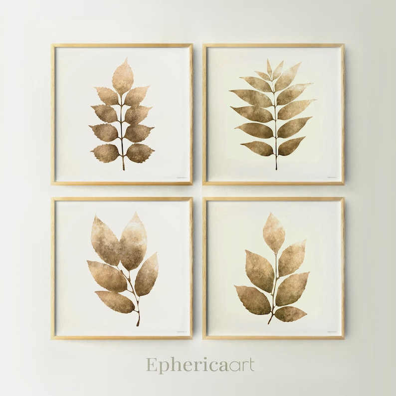 4 Piece wall decor Brown Leaves art prints Square print set image 0