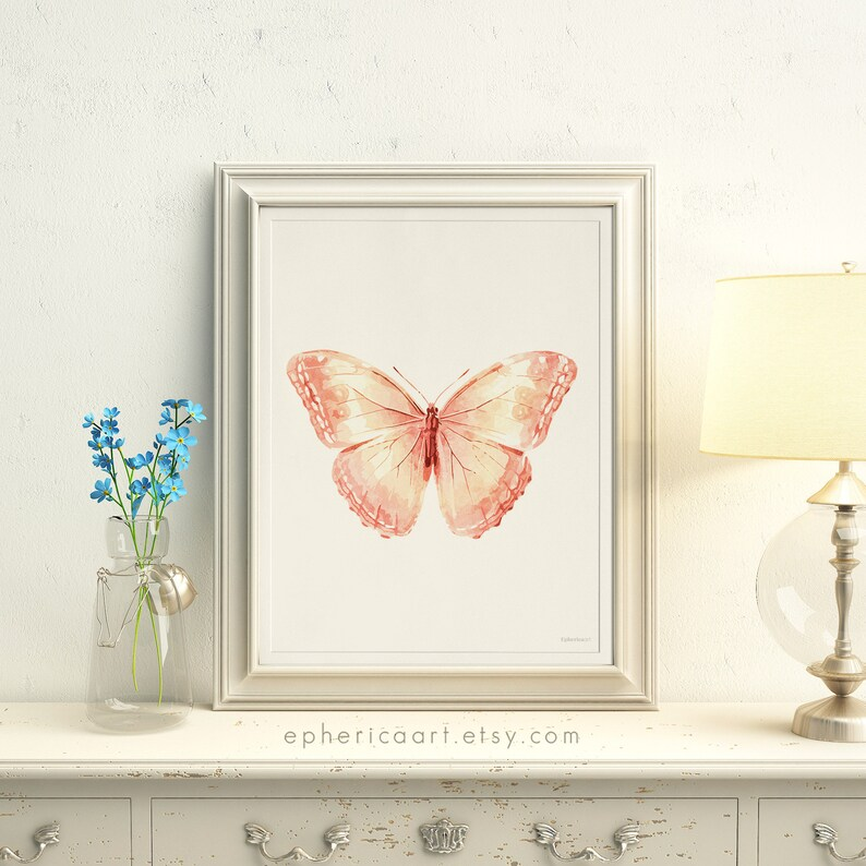 Butterfly wall decor Printable print Butterfly artwork Peach image 0