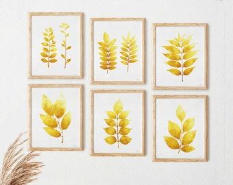 Set of 6 wall art Botanical wall decor, Small prints Mustard yellow wall decor, Kitchen Printable wall art Instant download Digital wall art